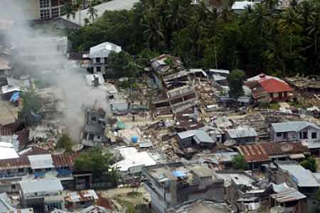 crushed building in gunung sitoli nias island